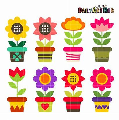 Flower Pots Colorful Objects Clipart Clip Everyday