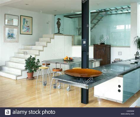 contemporary kitchen diner modern kitchen diner steps metal table tops stock 2483