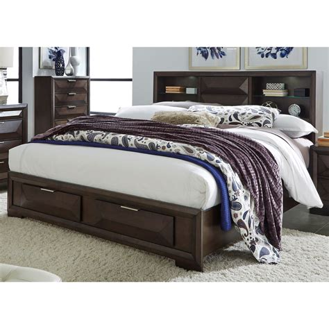 King Bookcase Storage Bed by Liberty Furniture Newland Contemporary King Bookcase Bed
