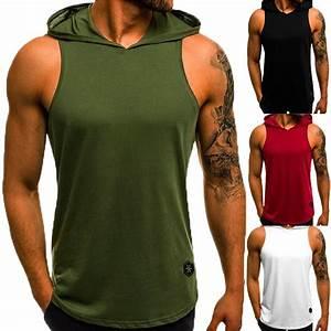 Men U0026 39 S Cotton Sleeveless Hoodie Bodybuilding Workout Tank Tops Muscle Fitness Shirts Male Jackets