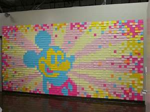 Over 2000 post it notes make up this mickey mouse wall for What kind of paint to use on kitchen cabinets for disney stitch wall art