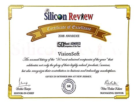 Silicon Review 50 Most Admired Companies  Visionsoft