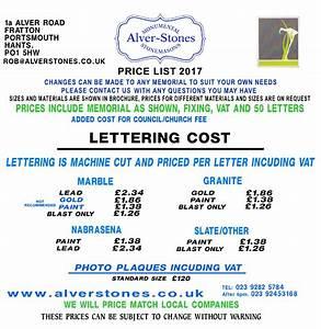 Alver stones memorial price list memorials alver stones for Cemetery lettering prices