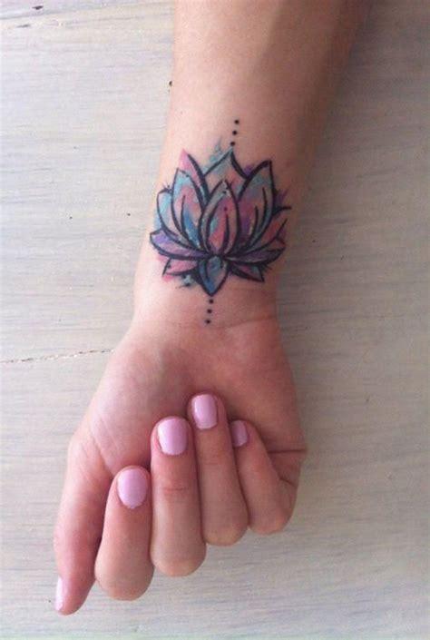 watercolor lotus floral flower wrist tattoo ideas