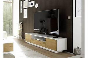 Meuble Tv Design Laqué : meuble tv design bois blanc laqu mat ~ Teatrodelosmanantiales.com Idées de Décoration