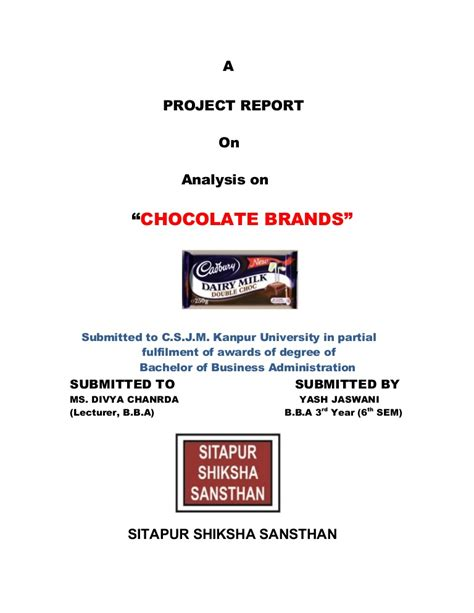 Project Report On Chocolate
