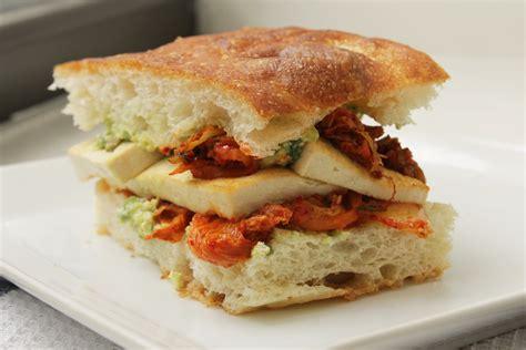 Pan Fried Tofu And Kimchi Sandwich With Creamy Avocado Aioli