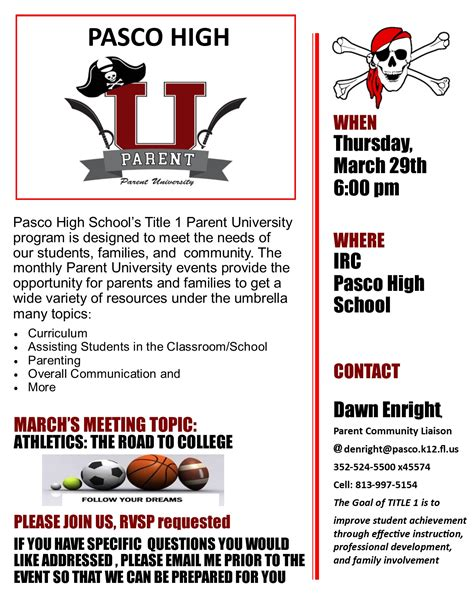 upcoming parent university meeting pasco high school