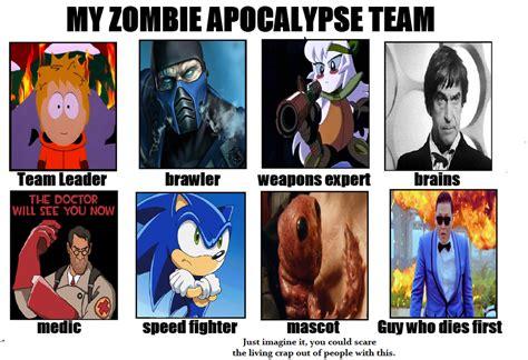 Zombie Apocalypse Team Meme - image 630832 my zombie apocalypse team know your meme