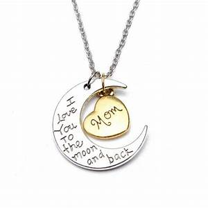 buy i love you to the moon and back family member engraved With engraved letter necklace