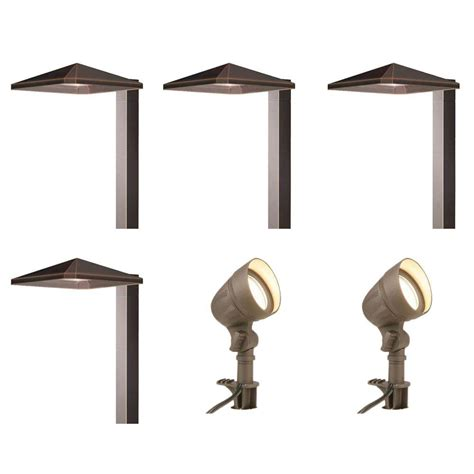 home depot outdoor lighting kits hton bay low voltage integrated led bronze outdoor
