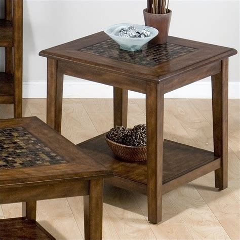 baroque end table with mosaic tile inlay in brown 698 3