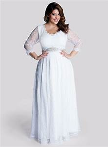 Simple plus size wedding dress with long sleevescherry for Plus size long dresses for wedding