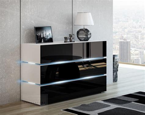 Weis Hochglanz by Kaufexpert Kommode Shine Sideboard 120 Cm Schwarz