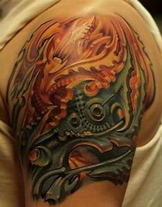 Biomechanical tattoo on shoulder - Tattooimages.biz