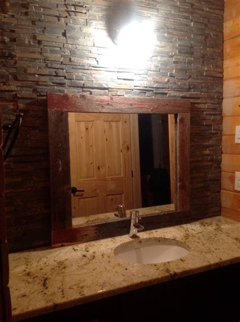 bathroom wall stone   barn board mirror