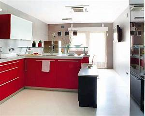 2 modern kitchen designs in white and red colors creating With kitchen design red and white