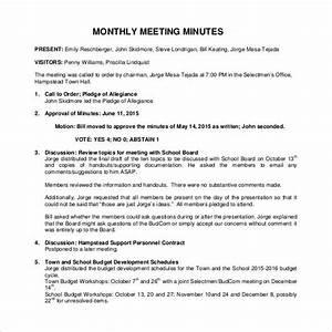 38 free sample meeting minutes templates sample templates With monthly meeting minutes template
