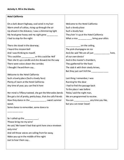 Hotel California Lyrics With Blanks