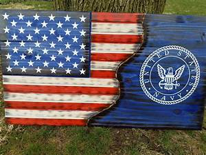 American Flag Military US Navy Rustic Distressed Charred