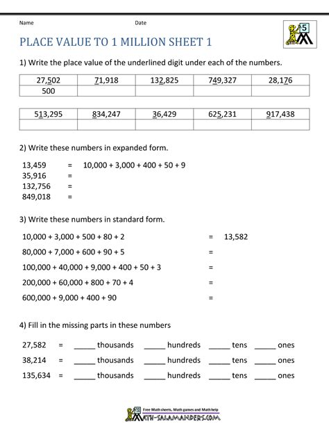 Place Value Worksheet  Up To 10 Million