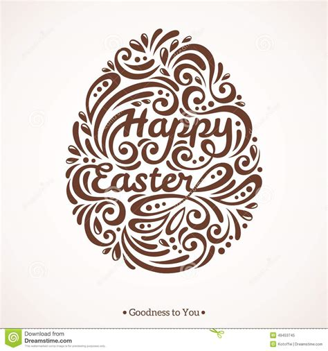 egg template illustration abstract happy easter lettering in form of egg stock