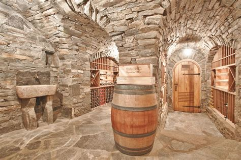 stone wine cellar  rustic sink carved   stone