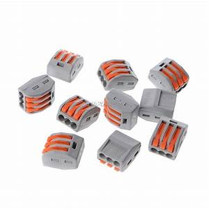 10 Pcs 3 Way Electric Cable Wire Connector Reusable Lever