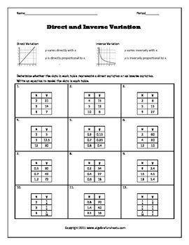 Direct And Inverse Variatio By Algebra Funsheets  Teachers Pay Teachers
