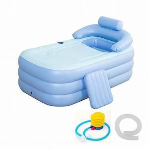 Foldable Inflatable Bathtub 160x84x64cm PVC Adult Bath Tub