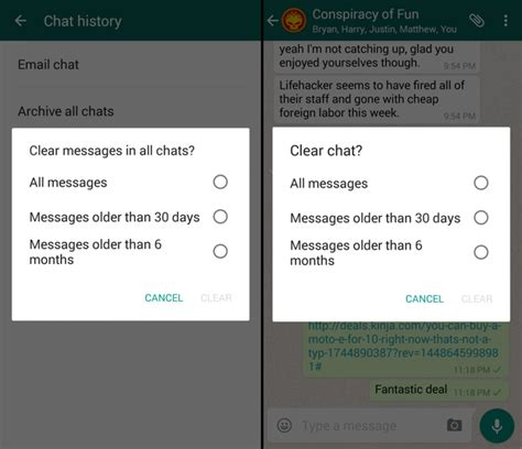 whatsapp clear chat history