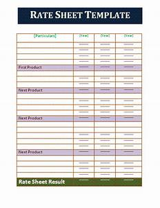 rate sheet template free business templates With rate sheets templates