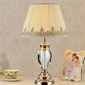 white table lamp modern bedside tables crystal lighting With white lamp shade for modern room
