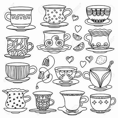 Tea Cup Drawing Doodle Coloring Doodles Adult