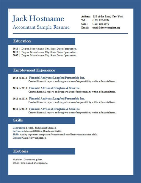 20095 accounting resume template cv template of an accountant image collections