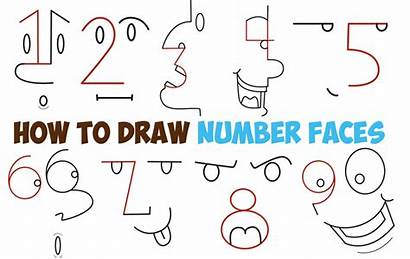 Numbers Step Draw Drawing Easy Faces Cartoon