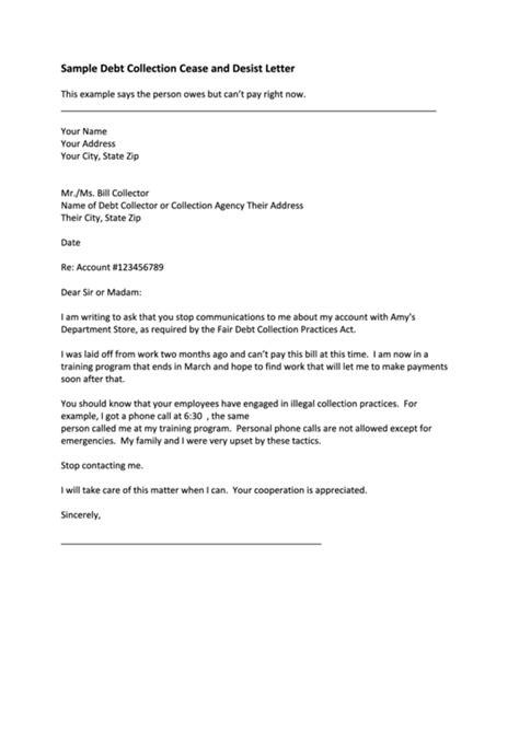sample debt collection cease  desist letter printable