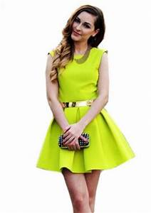 Amazon Sheinside Neon Green Sleeveless Ruffle