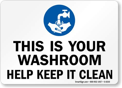 keep washroom clean restroom sign with graphic sku s 0210