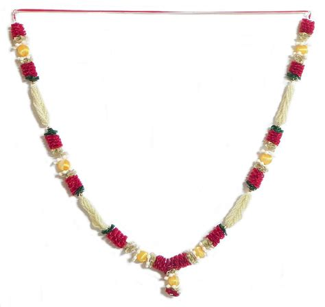 maroon ribbon and white bead garland with yellow thread balls