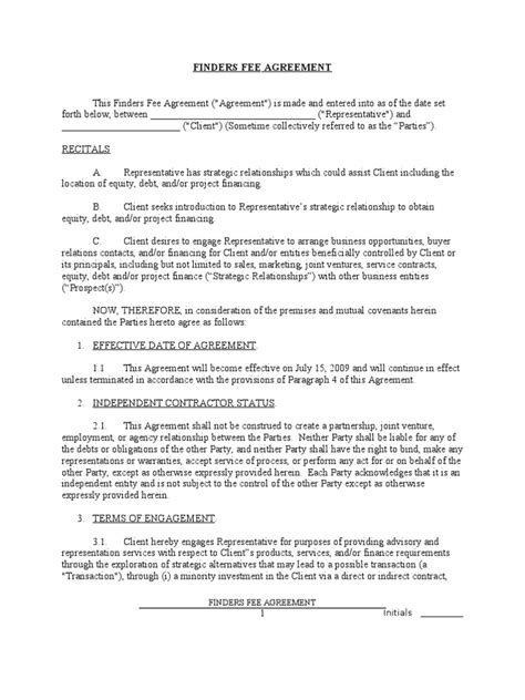 Success Fee Agreement Template by Finders Fee Agreement Sle