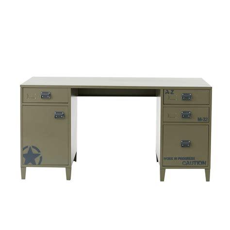 bureau 150 cm bureau en métal vert kaki l 150 cm douglas maisons du monde