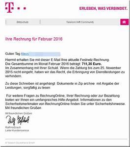 In Telegence Gmbh Auf Telekom Rechnung : trojanerwarnung ihre telekom festnetz rechnung februar 2016 mimikama ~ Themetempest.com Abrechnung