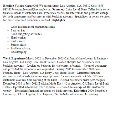 Entry Level Bank Teller Resume Objective by Professional Entry Level Bank Teller Templates To Showcase Your Talent Myperfectresume