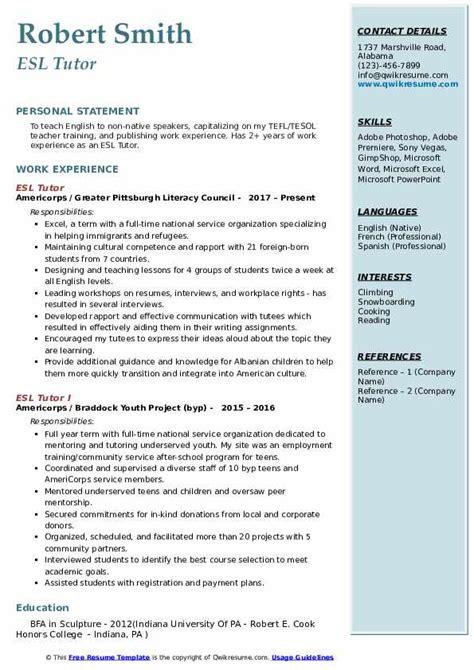 esl tutor resume samples qwikresume
