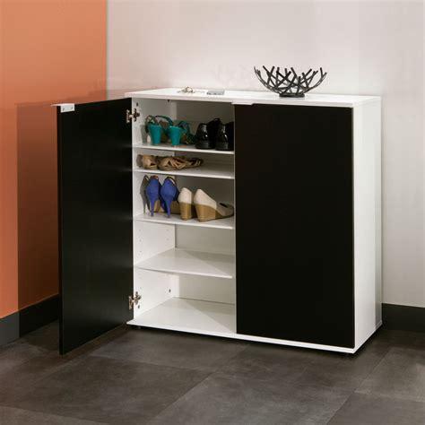 console cuisine symbiosis meuble à chaussures 2 portes blanc noir