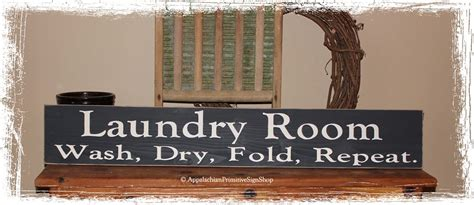 laundry room wash dry fold repeat large wood sign