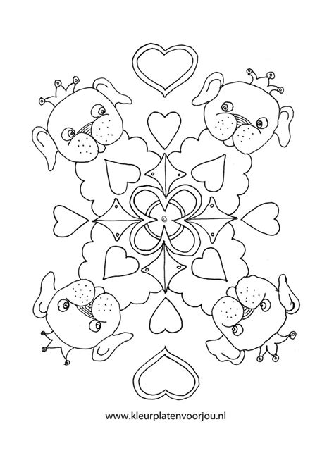 Kleurplaat Mandala Hondje by Hondje Met Kroon Mandala Hartjes Kleurplaten Voor Jou