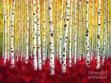 silver birches painting by hailey e herrera