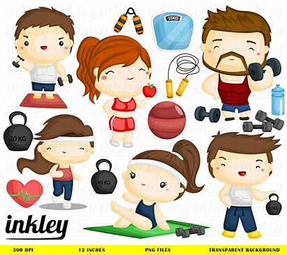 Clip Fitness Clipart Sport Exercise Healthy Weightlifting